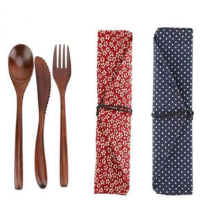 TOPINCN Bamboo Wooden Cutlery Set Fork Dinnerware Set