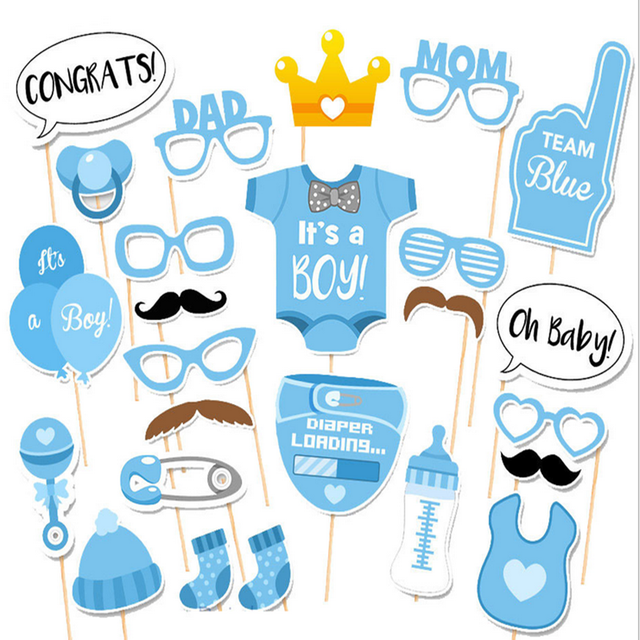 HOT 25 stks/set Meisje Photo Booth Props Baby Shower Roze Doop Verjaardag Decoratie DIY Party PhotoBooth Levert-6 1