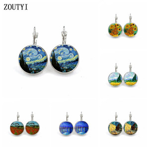 New / glamour silver simple style earrings Van Gogh famous artist star night glass cabochon earrings female jewelry gift