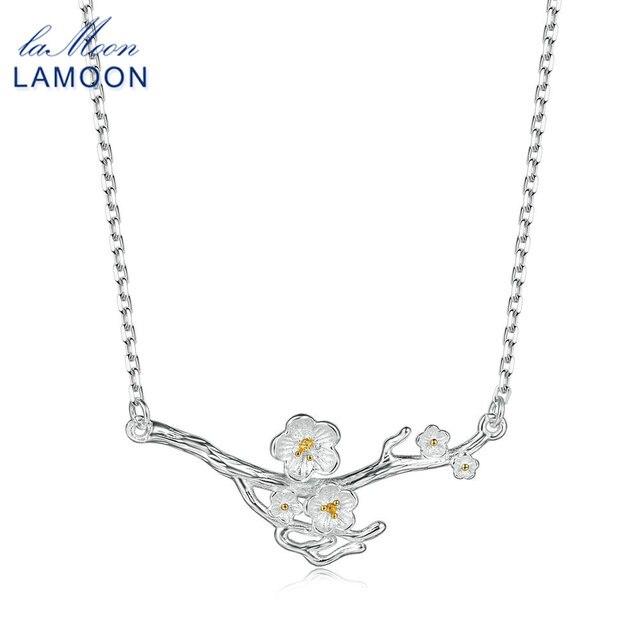 LAMOON 2018 Nuovo 2-Colori Plum Blossom Fiore S925 Pendente Della Collana 925-In-Argento Gioielleria Raffinata per Le Donne da sposa LMNY008