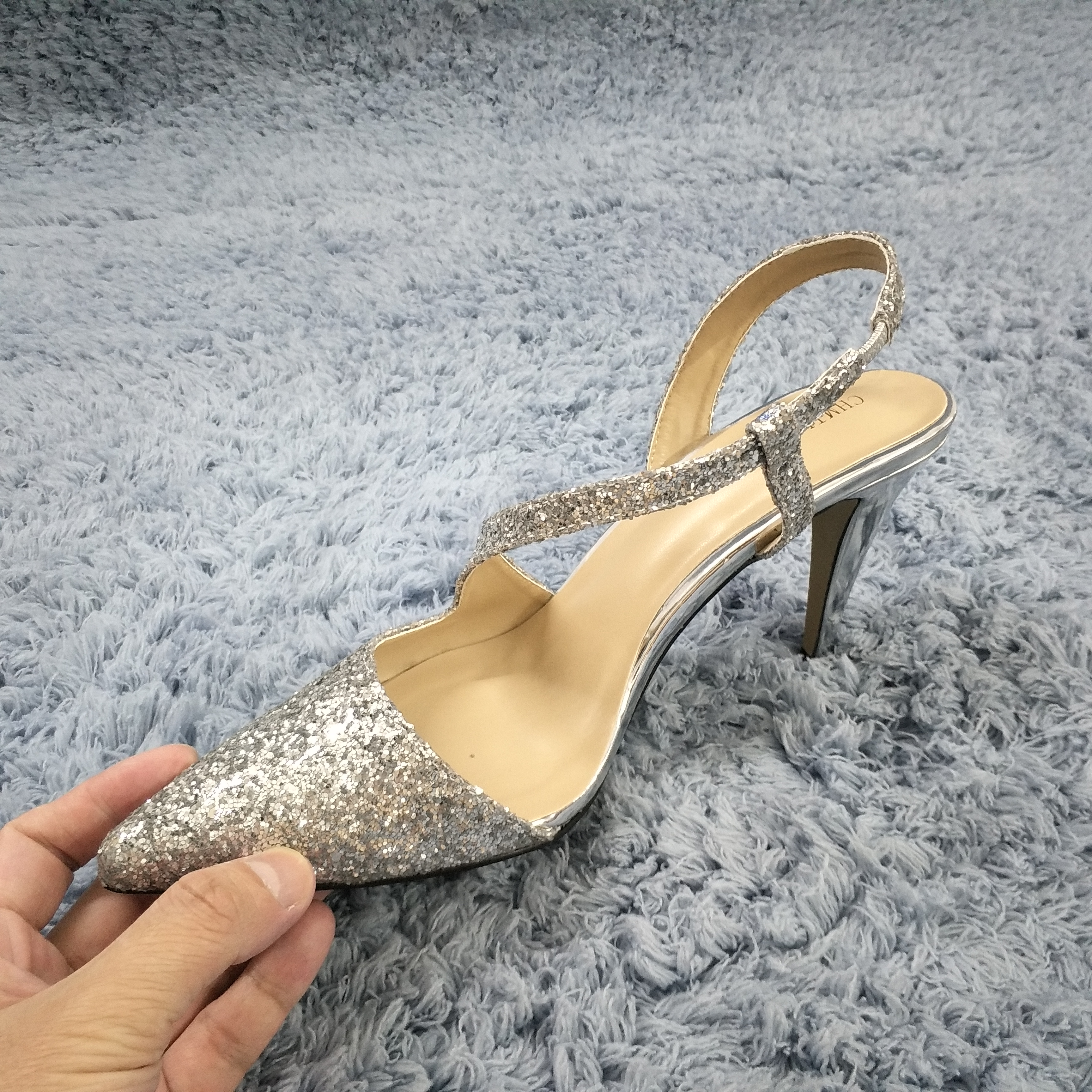 Women Stiletto Thin High Heel Sandals Sexy Pointed Toe Sling Back Silver Glitter Wedding Party Bridals Ball Lady Shoes 3364 e in High Heels from Shoes