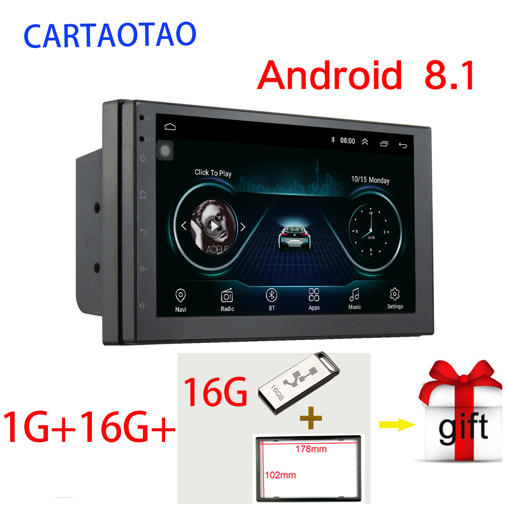 "2din Android 8.1 car radio multimedia video player 2 Din 7 ""universal touch screen GPS BT WIFI FM automatic audio MP5 player"