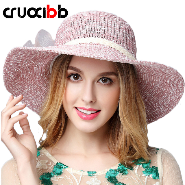 94a2040f681 CRUOXIBB Fashion Women s Sun Hat Net Yarn Big Bow Visor UV Protection Hat  Cap Ladies Wide Brim Straw Hats Beach Panama Chapeu