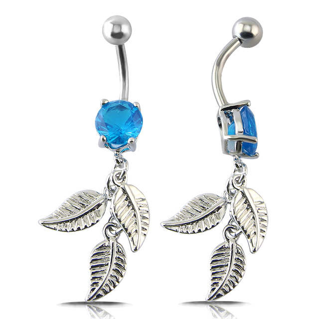 Us 2 11 30 Off 14g Belly Button Jewelry Elegant Blue Cz Crystal Navel Piercing Belly Ring Flower Navel Belly Button Hot Summer Women Jewelry On
