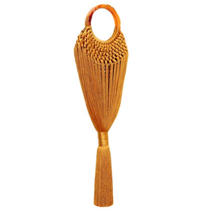 Poignée acrylique femmes gland corps sacs à main à la main tissage maille Net panier femelle anneau poignée fourre-tout tressé été sac de plage Turm