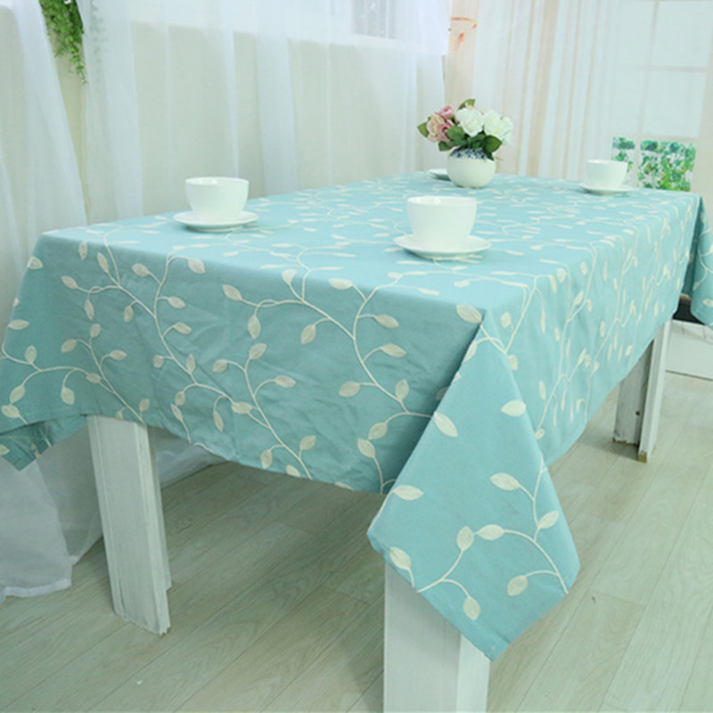 Image 2 - Embroidered leaf Table Cloth Cotton&Polyester Green Tablecloth Table Cover For Wedding Hotel Party Square Pastoral Home Textile-in Tablecloths from Home & Garden on AliExpress