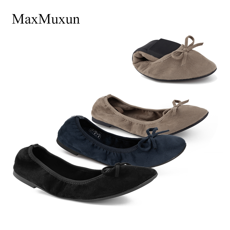 b19dbc2c7ae8 Maxmuxun Women Winter Black Foldable Ballet Flats Elastic Bowtie Ballerina  Dolly Shoes After Party Flats For Dance Wedding Guest-in Women s Flats from  Shoes ...