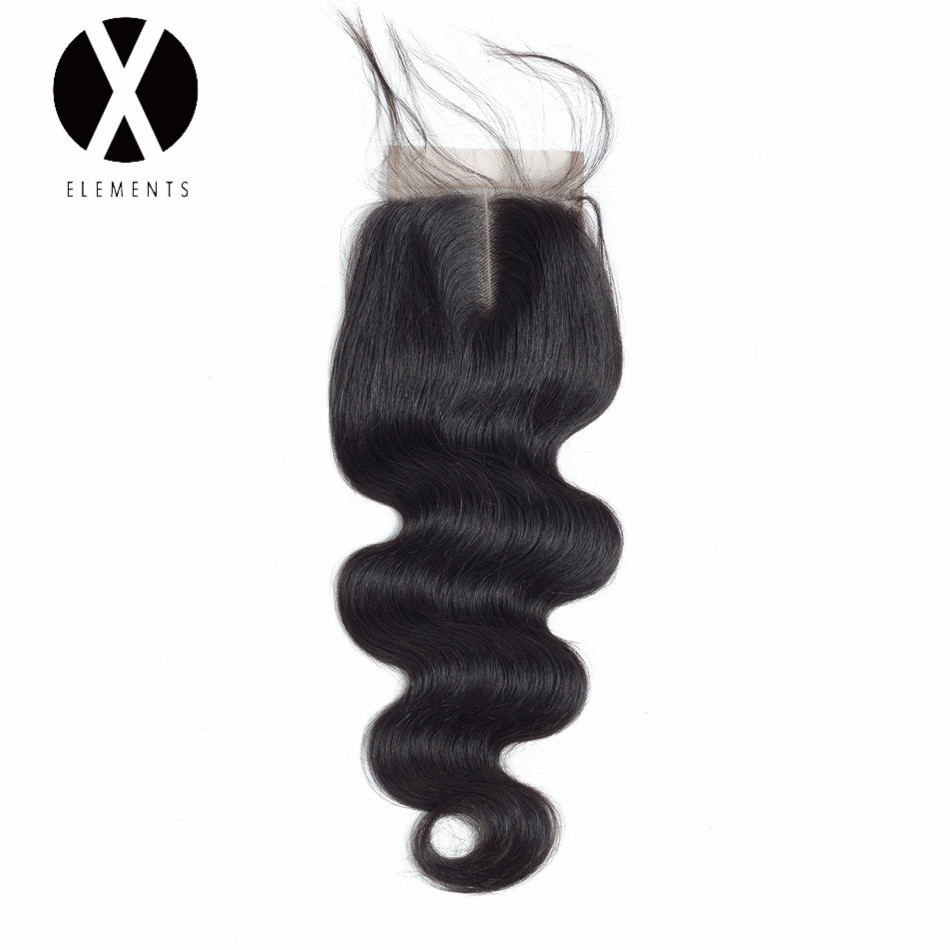 X-Elements 4*4 Lace Closure Non-Remy Body Wave Hair Weaves Brazilian Human Hair Extensions Natural Color