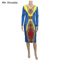 2016 African Print Dresses Sexy O Neck Wild Luxe Multi Print Bodycon Mini Dress Women Long