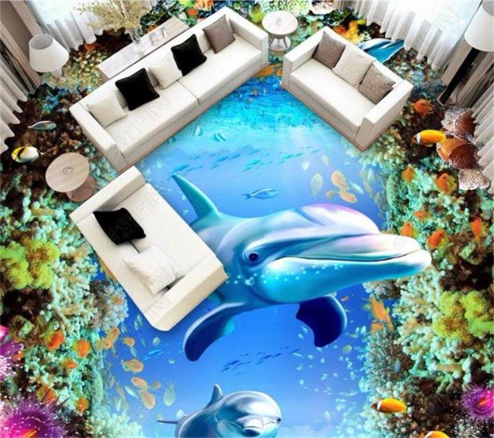 Пользовательские Любой размер 3D Настенные обои Фэнтези цвет подводный мир, дельфин 3D Крытый пол декоративная Фреска