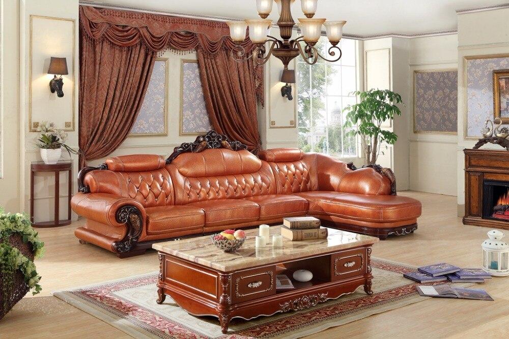 European Leather Sofa Set Living Room Made In China L Shape Corner Wooden Frame