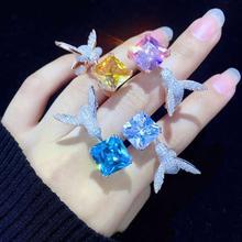 แหวนค็อกเทล 925 เงินสเตอร์ลิง Cubic zircon BIRD แหวนปรับขนาดผู้หญิงเครื่องประดับสำหรับงานปาร์ตี้ Hummingbird