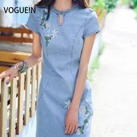 VOGUE N New Womens Ladies Vintage Floral Embroidered Short Sleeve Denim Jeans Mini Dress Wholesale SML