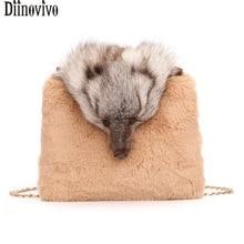 762c965194c7 Diinovivo Fashion Fox Pattern Crossbody Bag Women Faux Rabbit Hair Messenger  Bag Lady Handbag Chain Shoulder