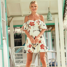 sexy mousse women evening party Floral Dress skirt spaghetti strap christmas dress summer  white floral short