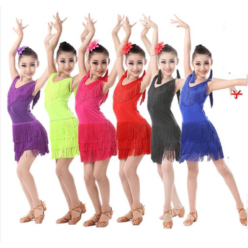 Girls Sequined Tassels Latin Dance Competition dress Kids Ballroom Tango Salsa Fringe costumesDress child dancewear outfits