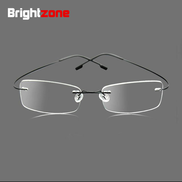 5264bfda86 9 Colors Lightest Optical glasses Memory Titanium Alloy Rimless Frame Myopia  Prescription Glasses 1.56 1.61 Progressive