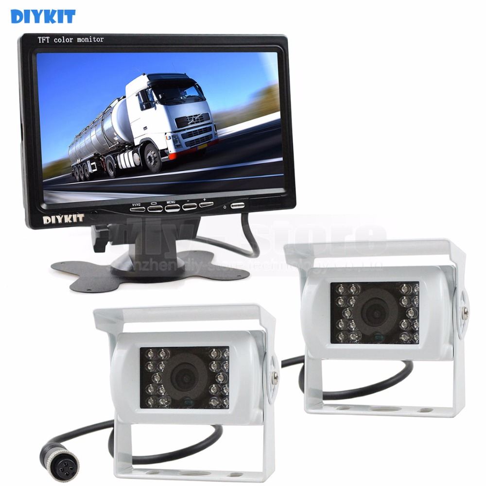 DIYKIT 2 x 4pin Night Vision Rear View Camera Car Camera + DC 12V-24V 7 inch TFT LCD Car Monitor System for Bus Houseboat Truck diykit ir night vision ccd rear view car camera white 7 inch hd tft lcd car monitor reverse rear view monitor screen