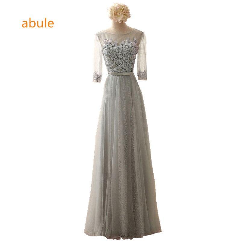 abule 2017 Elegant Longue Robes De Soirée Demi-Cou-Cou Robe De Tulle Prix Pas Cher Robes De Bal bow robe De Soirée livraison gratuite
