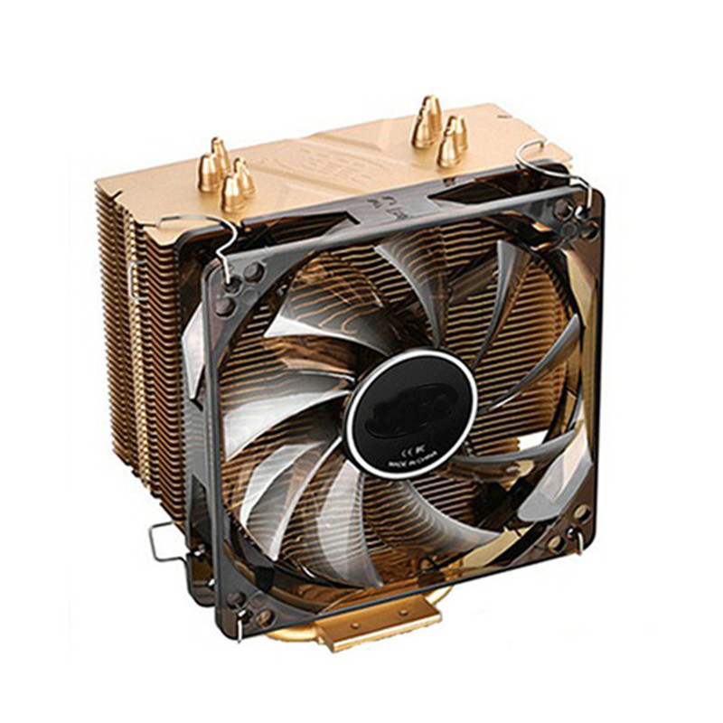 CPU Cooler 4 Pin Golden Computer CUP Cooling Fan 120*120*15mm Fan 4 Heatpipes Tower Side-Blown Aluminum Radiator For PC