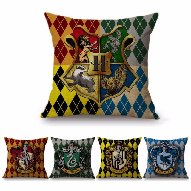 18 Square Harry Potter Home Decor Cushion Cover 4 Houses Hufflepuff Gryffindor Slytherin Ravenclaw Cotton