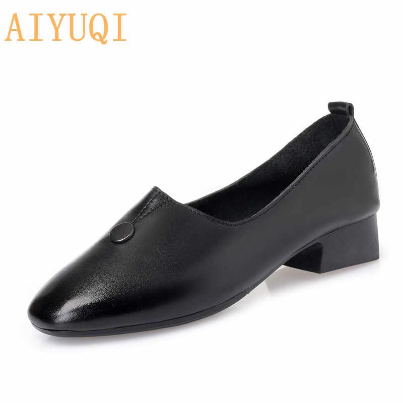 AIYUQI Delle Donne scarpe di cuoio 2020 nuovi in pelle di mucca donne di grandi dimensioni scarpe testa Quadrata con la madre scarpe tacco medio mocassini delle donne
