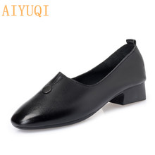 AIYUQI Women leather shoes 2019 new cow large size women Square head with mother mid heel loafers