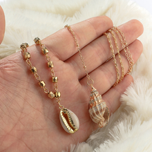 Bohemian Women Multilayer Necklace Vintage Alloy Conch Shell Pendant Simple Seashell Beach Jewelry Ladies Choker