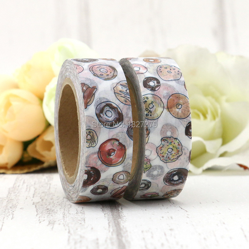 1pcs 1.5cm Wide Delicious Donuts Paper Washi Tape Adhesive DIY Scrapbooking Sticker Label Masking Tape Correction Tape Gift