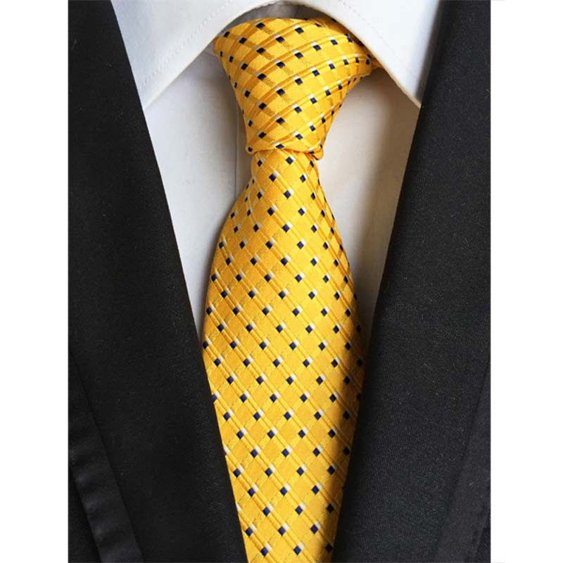 Vintage Factory Seller 8cm Men's Classic Tie 100% Silk Yellow W/ Black Polka Dot Cravatta Ties Man Bridegroom Party Necktie Lot