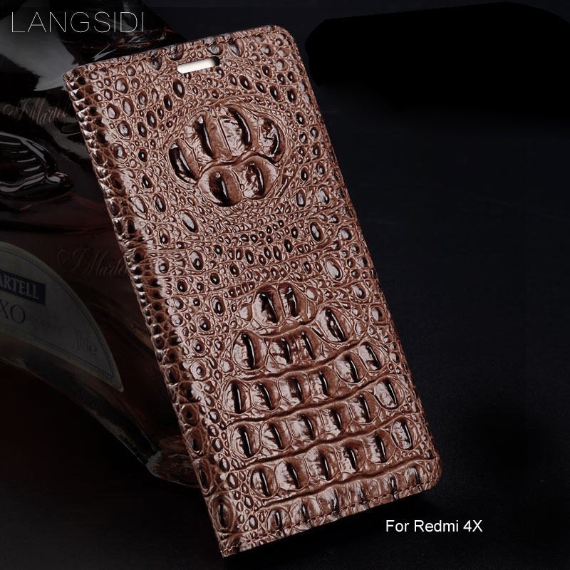 Wangcangli cuir véritable flip coque de téléphone Crocodile texture arrière pour Xiaomi Redmi 4X coque de téléphone tout fait à la main
