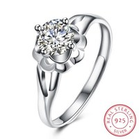 SH R0087 100 Real 925 Sterling Silver Rings For Women AAA Zircon Adjustable Ring Wedding Engagement