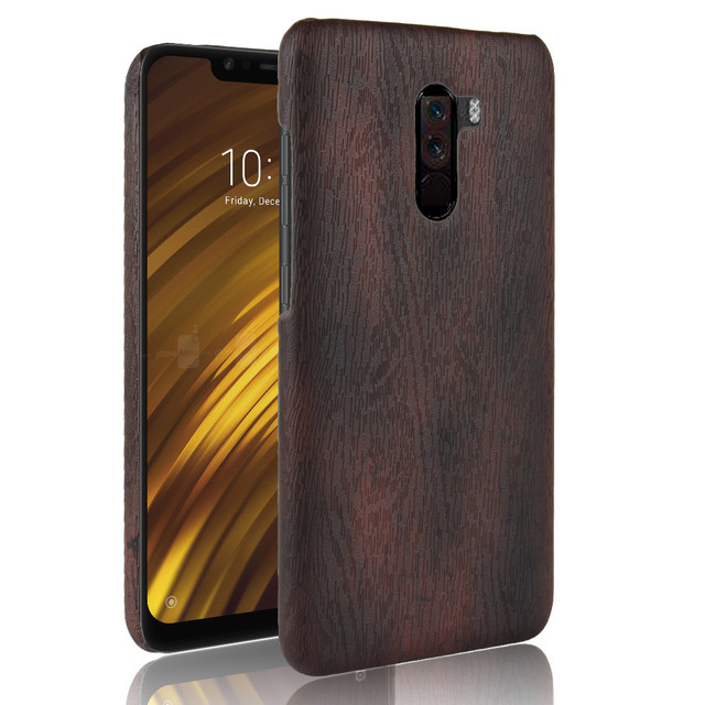 buy online aedfb d986d US $2.0 20% OFF|For Xiaomi Poco F1 Case 6.18 inch Luxury PU Leather Hard  Back Cover ShockProof Case For Xiaomi Pocophone F1 F 1 Wood Phone Cases-in  ...