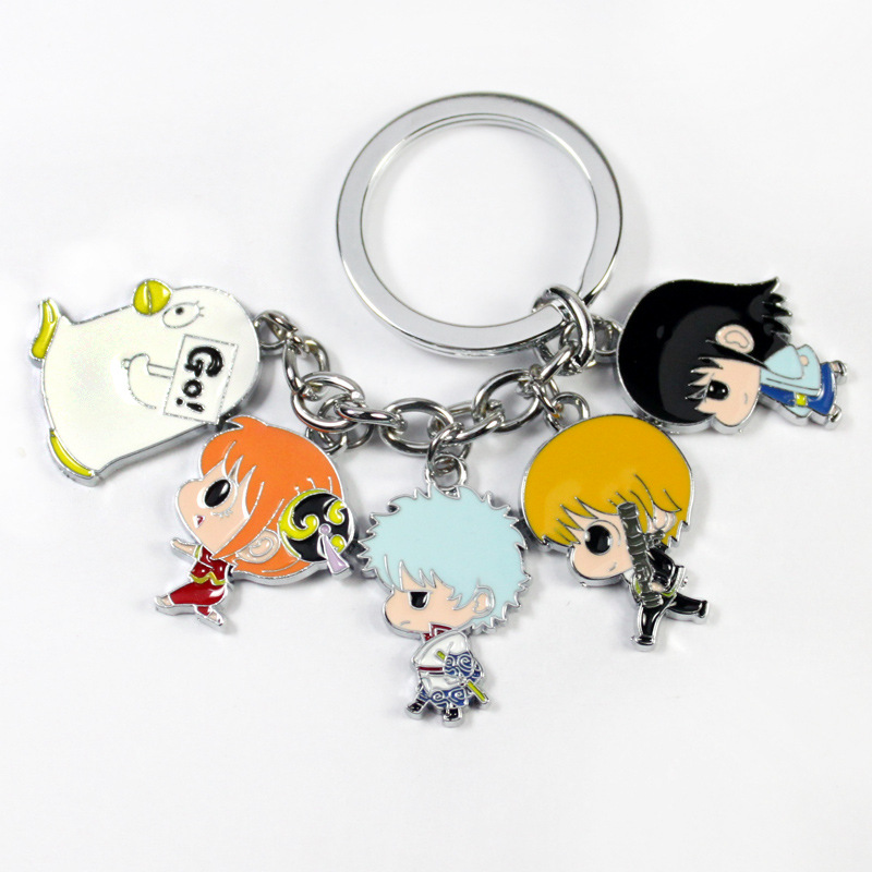 W5246 Gintama alloy Keychain Pendant Car Key Chain Key Accessories Cute Japanese Cartoon