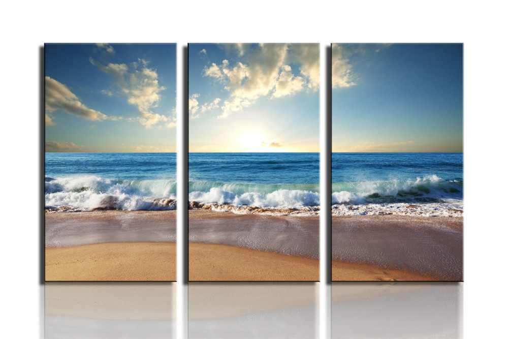 3 Panel  Modern Wall Art Home Decoration Painting Canvas Wall Art Prints Pictures Sea Scenery With Beach