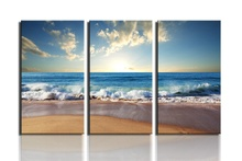 3 Panel  Modern Wall Art Home Decoration Painting Canvas Prints Pictures Sea Scenery With Beach