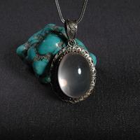 Ручной работы Непал 925 Серебряный кулон ожерелье тибетское серебро натуральный розовый камень кулон Богемия женский кулон ожерелье