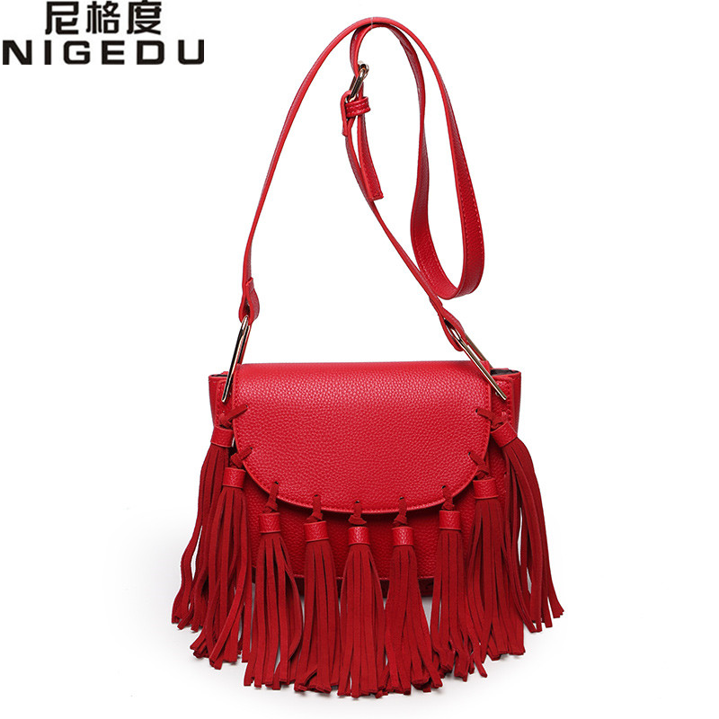 Fashion tassel bag High quality PU leather Crossbody Bags for women messenger bag girls Shoulder bag Handbags bolsa franja fashion vintage women s handbags quality pu leather crossbody bags for teenager girls chains shoulder bag desinger clutch bags