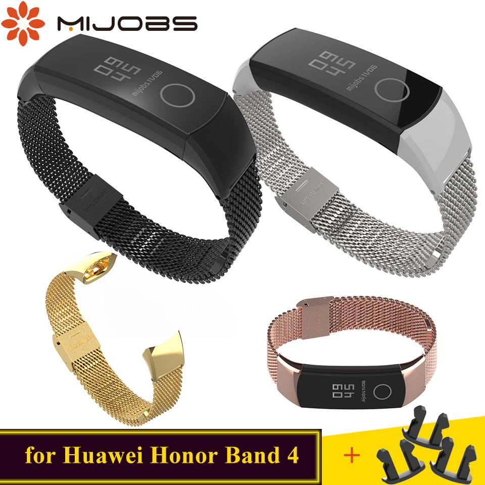 Mijobs Milanese Metal Strap Replace for Huawei Honor Band 4 Strap Watchband Wristband Stainless Steel Bracelet