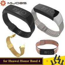 Mijobs Миланского металла Замена ремешка для huawei Honor Band 4 Ремешок Браслет Нержавеющая сталь умные аксессуары