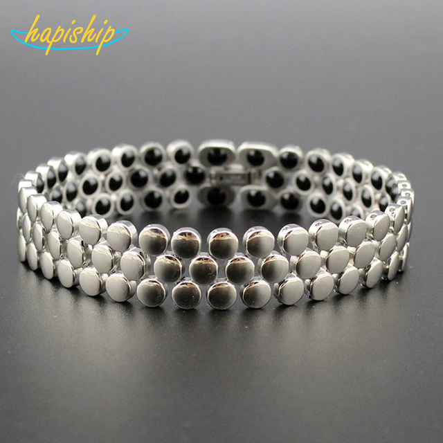 Hapiship 2018 Fashion 106 Germanium Cells 316L Stainless Steel Therapy Bracelet Emerge Power Bangle Jewelry Gift for Man TG4601