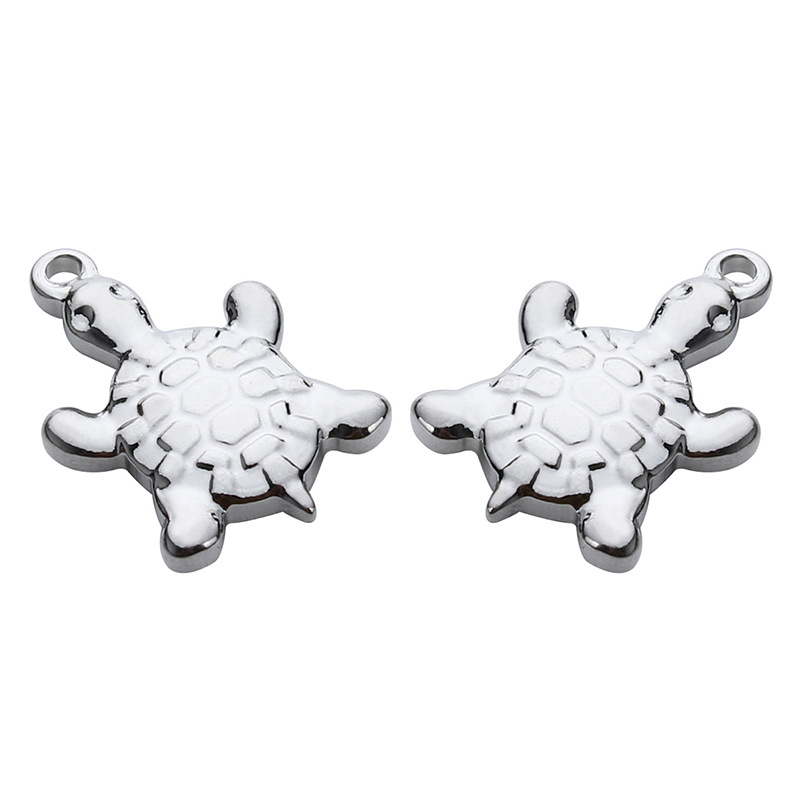 10pcs/lot Stainless Steel Animal Turtle Floating Charms Pendants 13*19mm Silver Tone Charms For Bracelet Jewelry Making F3924