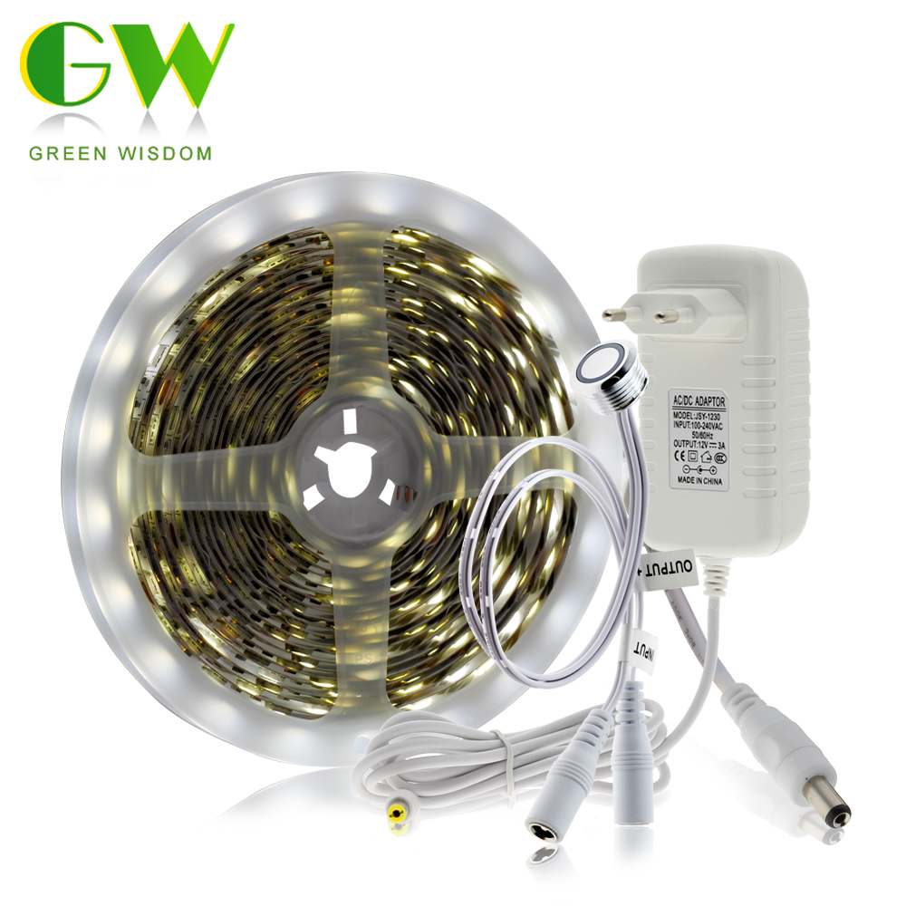Touch Dimming LED Strip 5050 + DC12V Adapter + Touch Dimmer Switch DIY Bed Closet Cabinet Light LED Flexible Strip Light.
