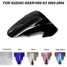 цена на Black Motorcycle Motorbike Windshield For Suzuki GSXR1000 GSXR 1000 K3 2003-2004 03 04 Double Bubble Windscreen Wind Deflectors