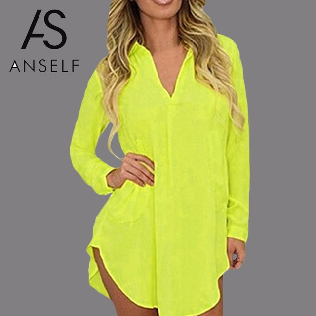 554ae7729346 Anself 6XL Fashion Autumn Casual Chiffon Shirt Dress Long Sheeve Sexy Split  Women Beach Dress Plus
