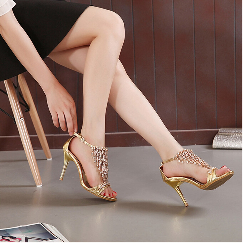 New Design Ladies Sexy Stilettos High Heels Women Shoes Pumps Faux Rhinestone Wedding Party Sandals Silver Gold 7