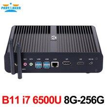 Skylake 4 К HTPC Настольный компьютер без вентилятора Мини-ПК I7 6500U I7 6600U Окна 10 8 г Оперативная память 256 г SSD