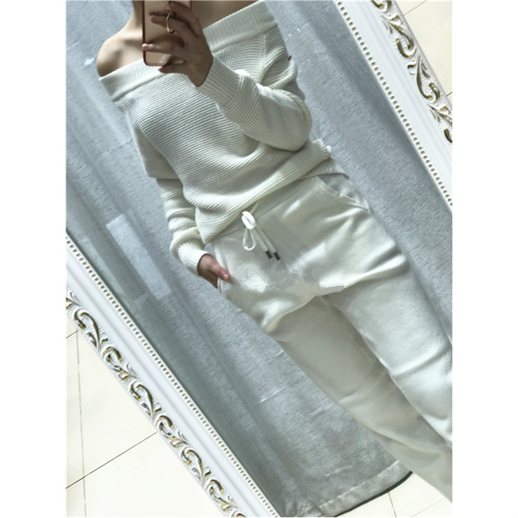 2017 autumn and winter new cashmere suit sweater set a word mink velvet wool knitted sweater and trousers two sets of women