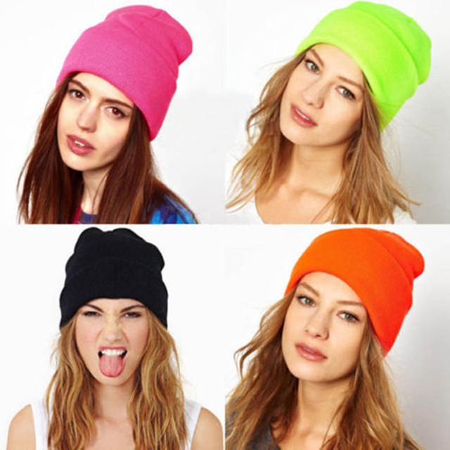 Cotton Solid Warm Soft Knitted Men's Women's Winter Beanie Hats