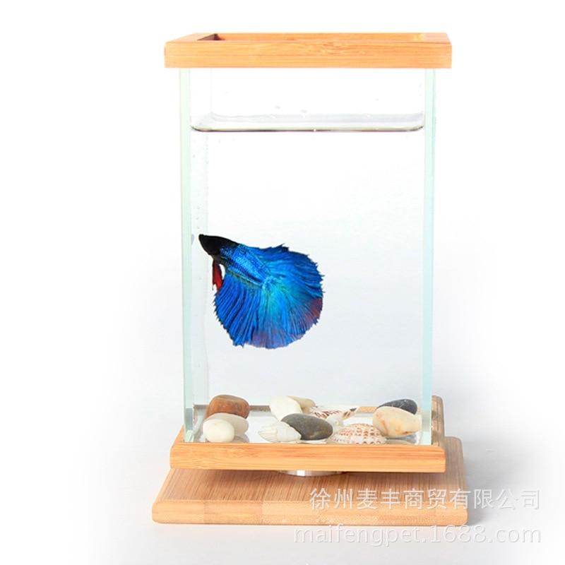 Mini bol à poisson sur la table créative poissons aquarium réservoir d'eau 360 degrés revolve carré boîte à poisson livraison directe